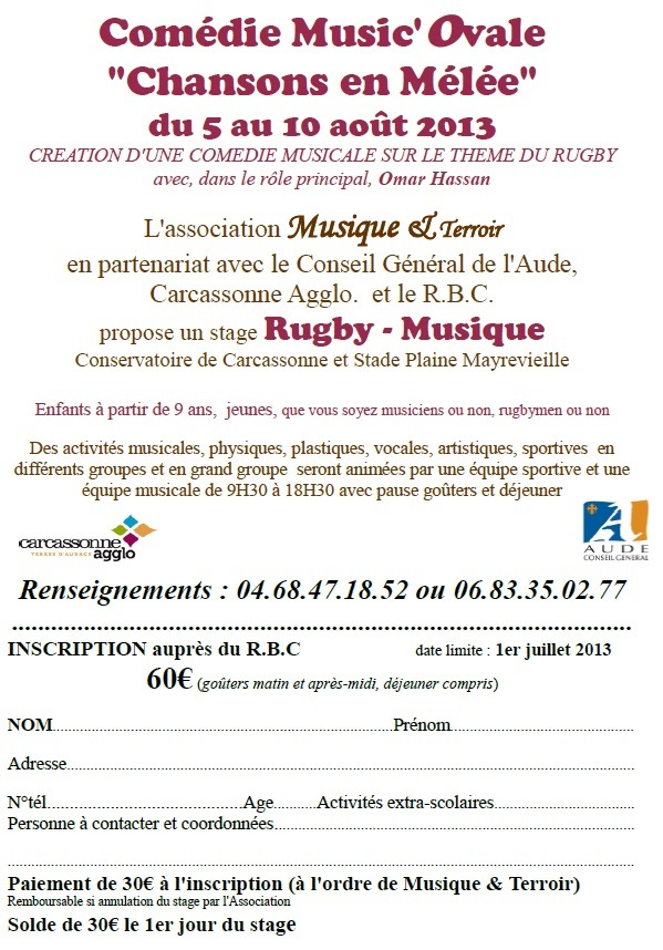 RBC BULLETIN INSCRIPTION MUSICOVALE