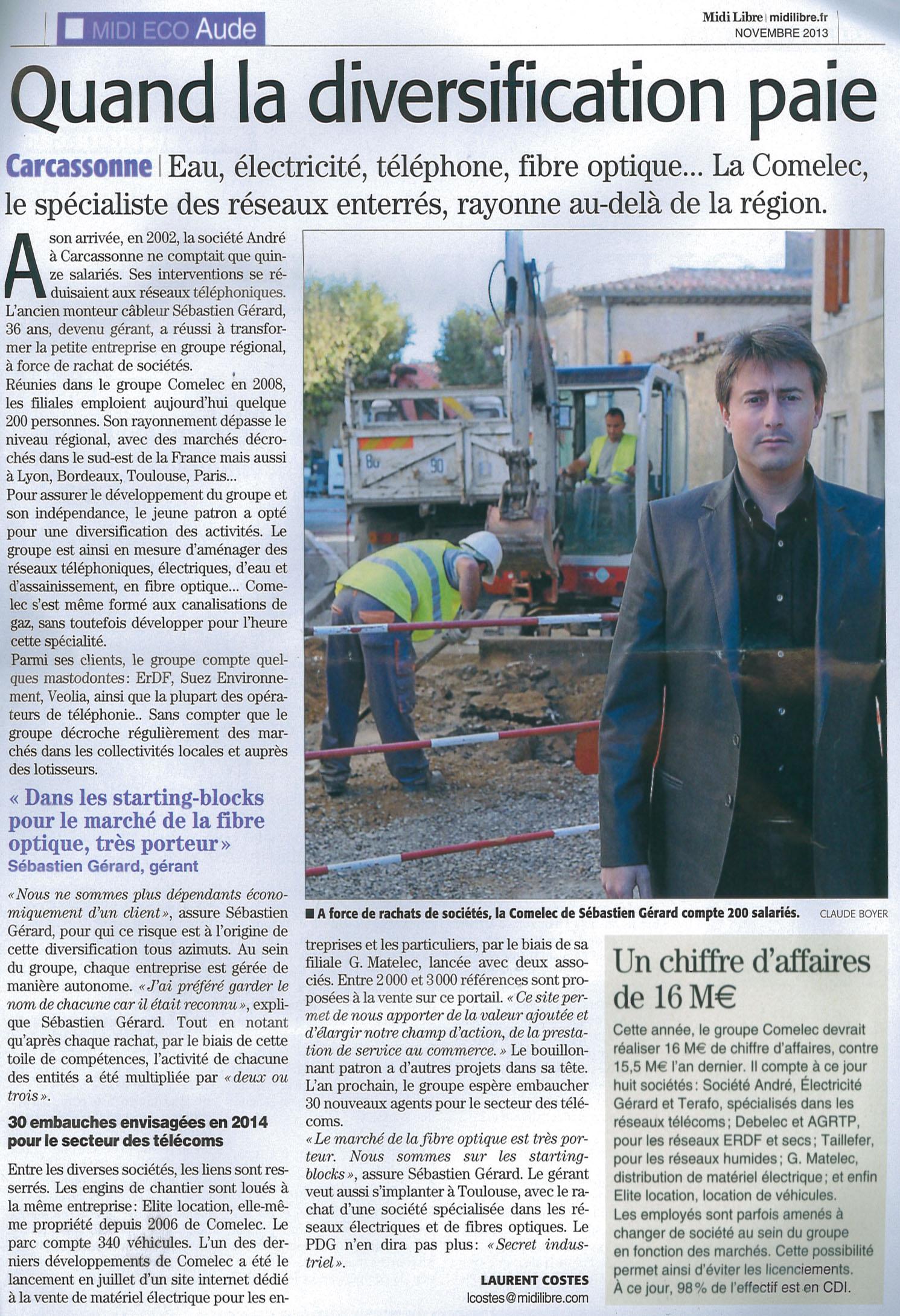 Article Midi Libre sur le Groupe COMELEC - usc 2013