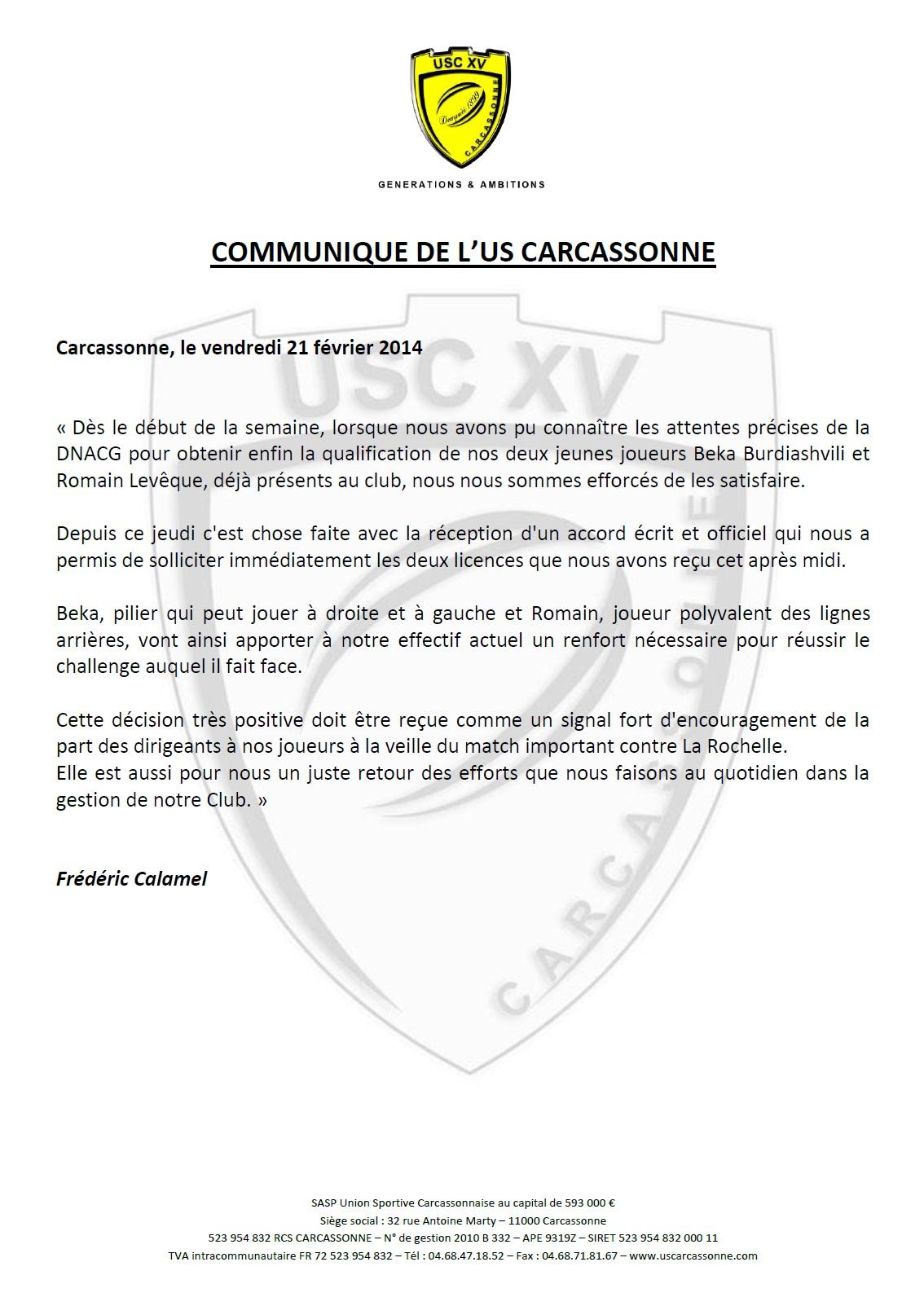 Communique USC - Qualification Leveque et Burdiashvili