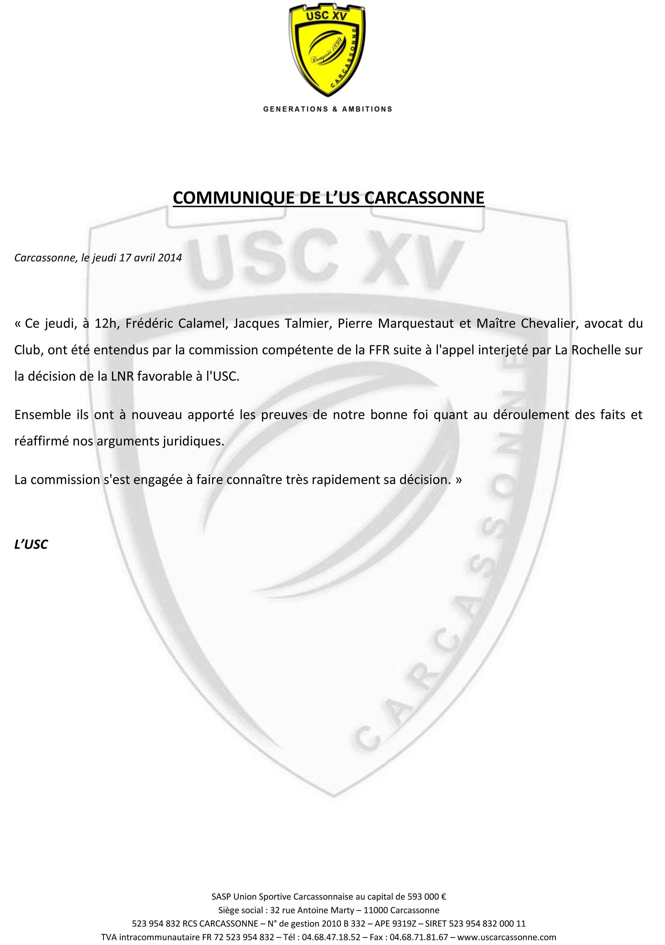 Communiqué de l'USC - Commission d'appel de la Fédération française de rugby