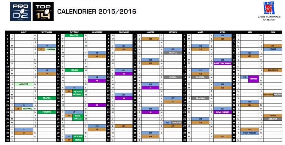 calendrier saison 2015-2016