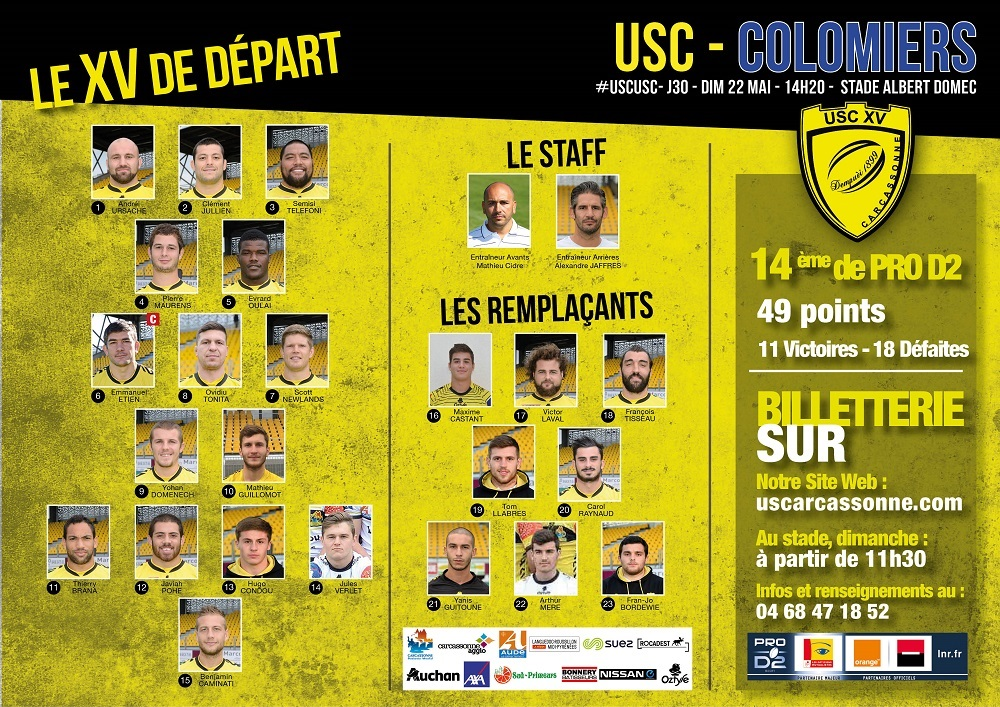 La compo de l'USC face à Colomiers