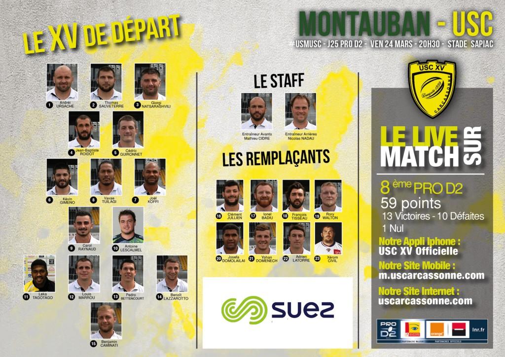 La Compo de l'USC face à Montauban