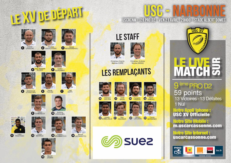 La Compo de l'USC face à Narbonne