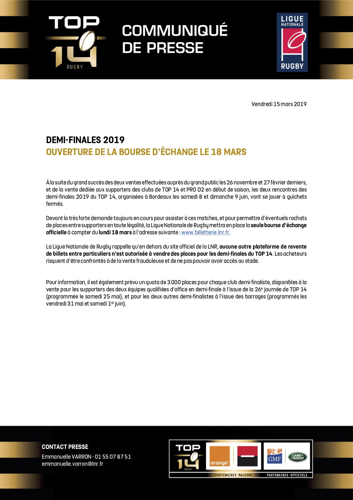 CP LNR - Demi-finales 2019 TOP 14 - Ouver ture de la bourse d'échange le 18 mars