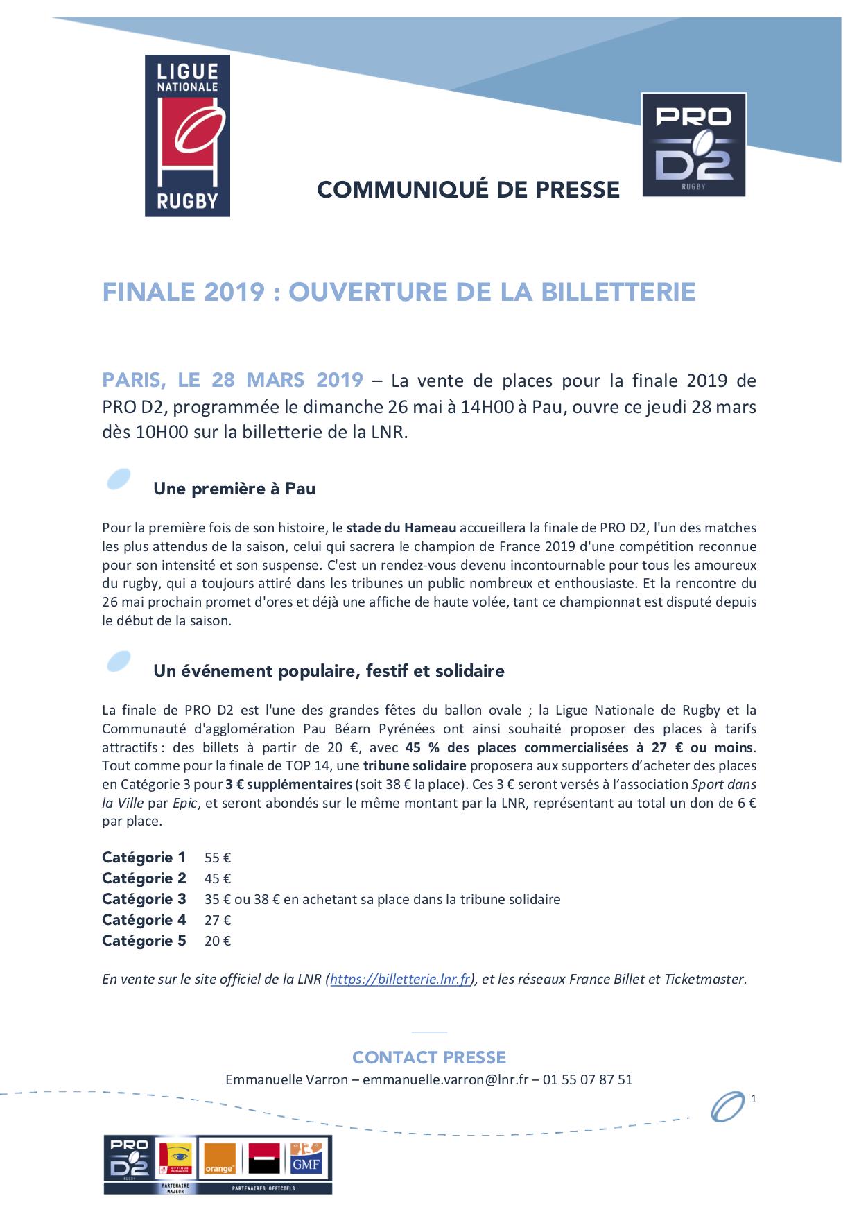 CP LNR - Finale 2019 PRO D2 I Ouverture de la billetterie ce jeudi 28 mars