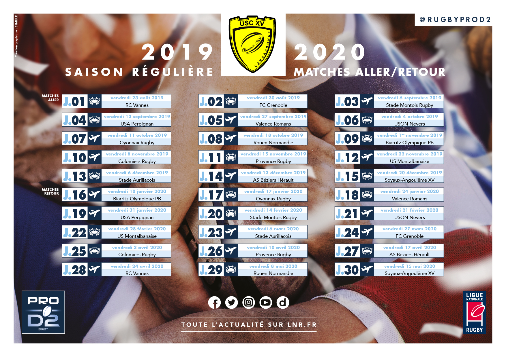 Calendrier US Carcassonne 2019-2020
