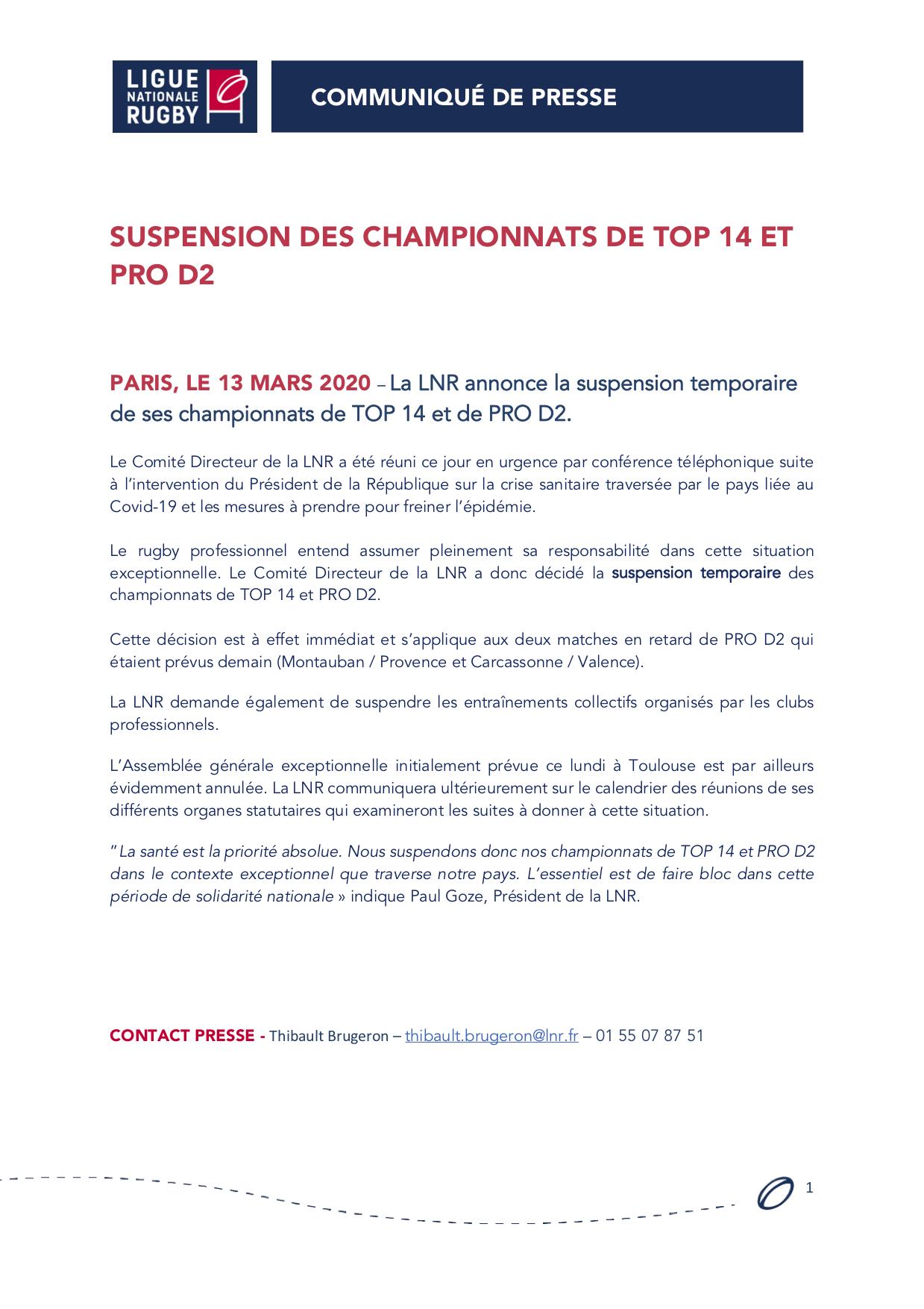 Communiqué - Suspension des championnats TOP 14 & PRO D2
