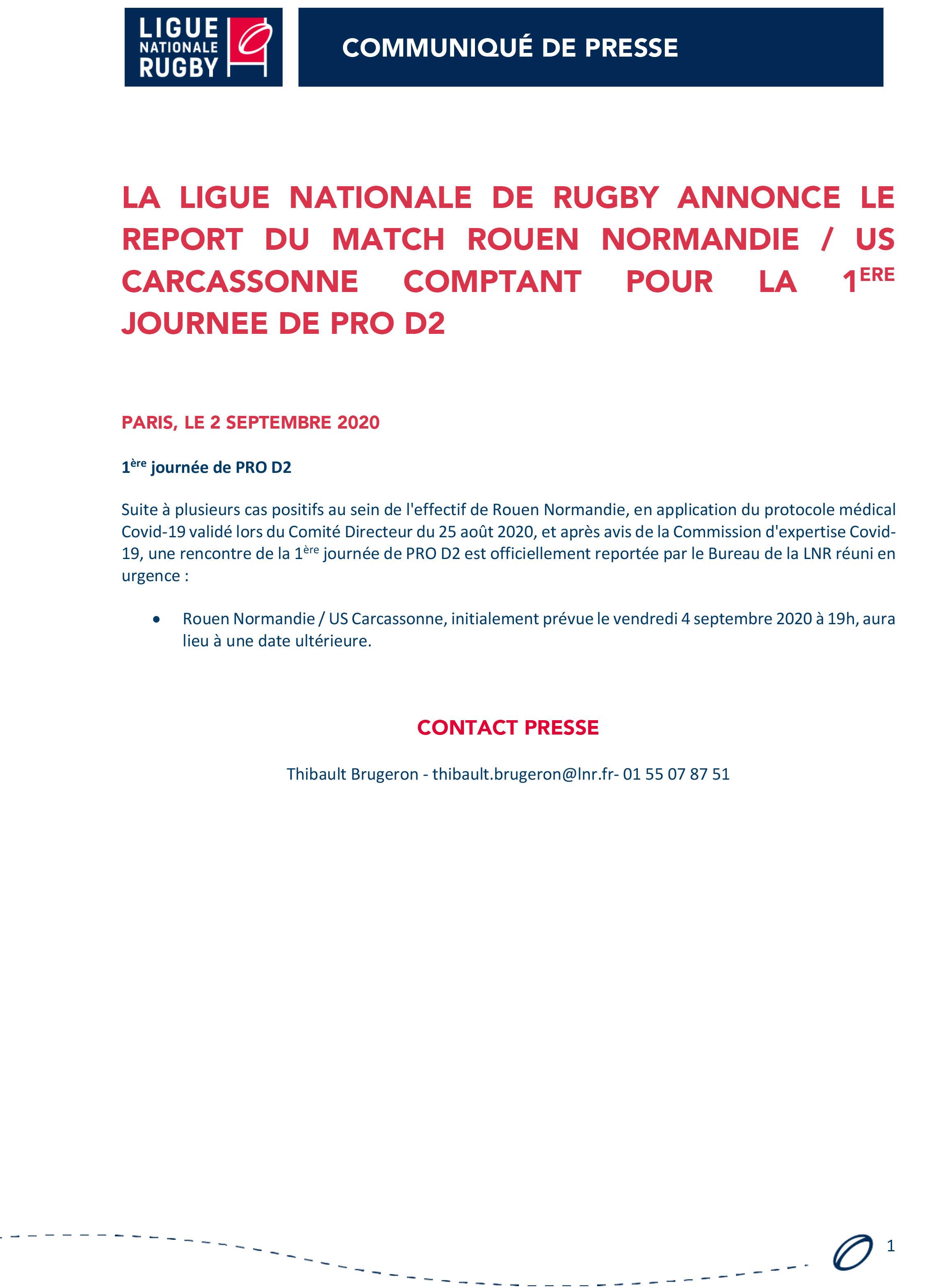 La Ligue Nationale de Rugby annonce le report du match Rouen Normandie US Carcassonne comptant pour la 1ère journée de PRO D2